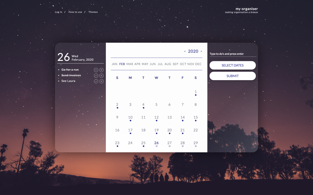 To Do Calendar | Tom Hoadley | Freelance Wordpress Developer