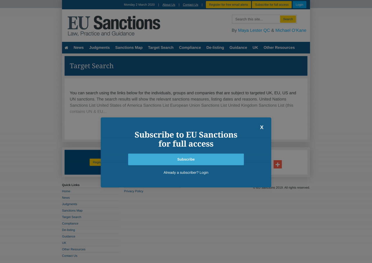 EU Sanctions Website | Tom Hoadley | Freelance Wordpress Developer